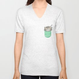 Cat in the Pocket Unisex V-Neck
