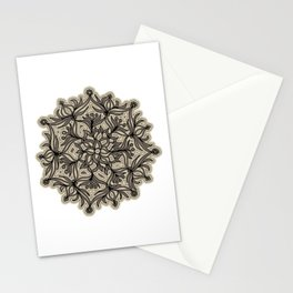 Lively Flower Mandala in mocca & cream Stationery Cards