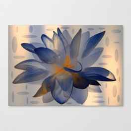 Midnight Blue Polka Dot Floral Abstract Canvas Print