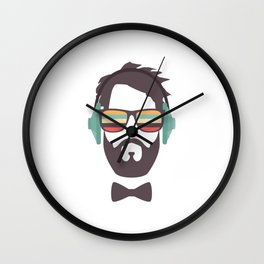 Hipster Face with Headphone Wall Clock
