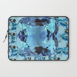 APRIL BIRTHSTONE BLUE AQUAMARINES FACETED GEMS  ART Laptop Sleeve
