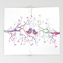 Birds Perched in Tree Throw Blanket