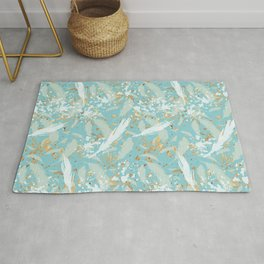 Golden Peacock Feather Pattern 04 Rug