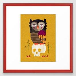 Owl with Skull Framed Art Print