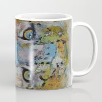 snow leopard Mugs featuring Leopard by Michael Creese
