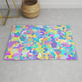 Stained glass print, colorful crystals, vector art Rug