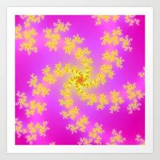 Yellow Spiral on Pink Art Print
