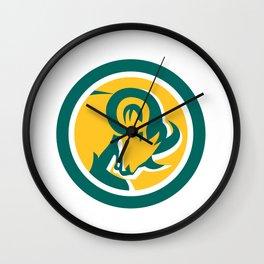 Bighorn Ram Sheep Head Circle Wall Clock