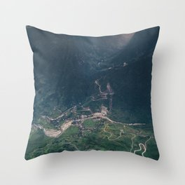 Mountainous town, Sa Pa, Vietnam Throw Pillow