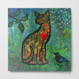 A Cat With Heart Metal Print