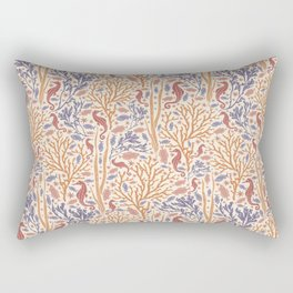 Reddish seahorse with orange coral and fish on seabed Rectangular Pillow