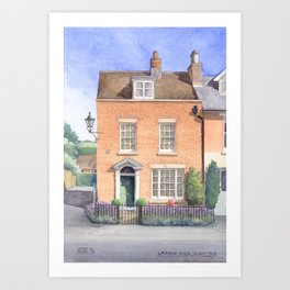 Lavender House, watercolour Art Print