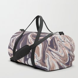 Liquid Rose Gold Violet and Marble Duffle Bag
