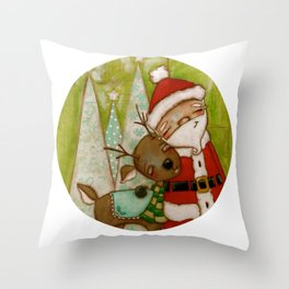 Travelin' Buddies - Santa and his reindeer friend by Diane Duda Throw Pillow