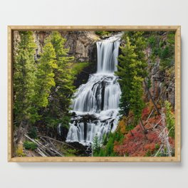 Undine Falls In Yellowstone National Park Serving Tray