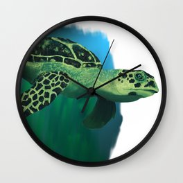 Green Sea Turtle Painting Wall Clock