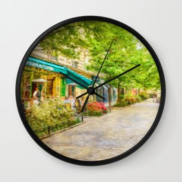 Paris, France in the spring watercolour style oil-paint Wall Clock