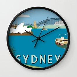 Sydney Harbour Retro Art Print Wall Clock
