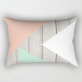Modern Teal Peach Triangles Color Block on Wood Rectangular Pillow