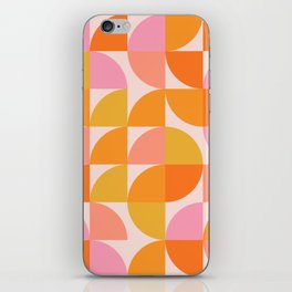 Mid Century Mod Geometry in Pink and Orange iPhone Skin