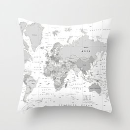 World Map [Black and White] Throw Pillow