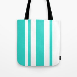 Mixed Vertical Stripes - White and Turquoise Tote Bag