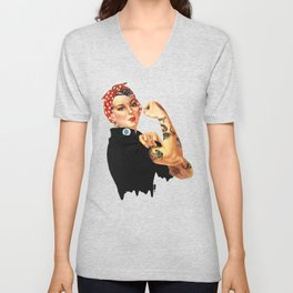 Tattooed Rosie the Riveter Unisex V-Neck