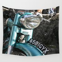 moto Wall Tapestries featuring Vintage moto by Johanna Arias