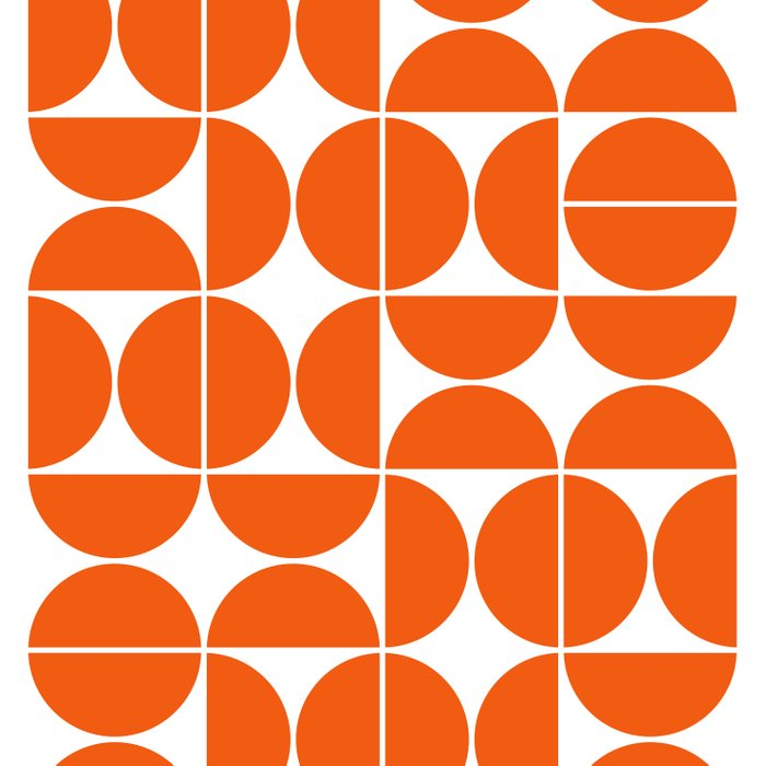 Mid Century Modern Geometric 04 Orange Bettbezug