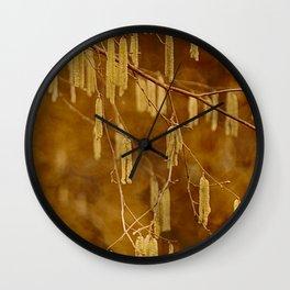 Hazel catkins Wall Clock