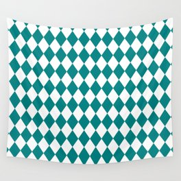 Diamonds (Teal/White) Wall Tapestry