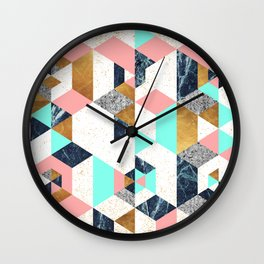 Mosaic geometric with textures Wall Clock