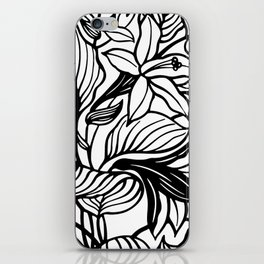 White Black Floral Minimalist iPhone Skin