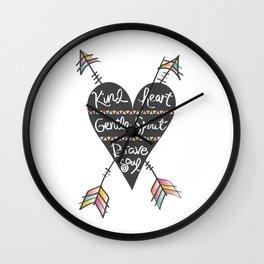 Kind Gentle Brave 1 Wall Clock
