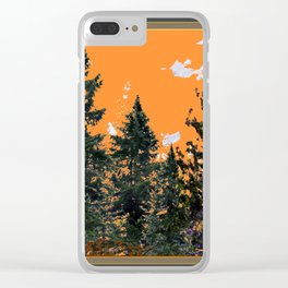 CHARCOAL GREY WESTERN PINE TREES  LANDSCAPE Clear iPhone Case