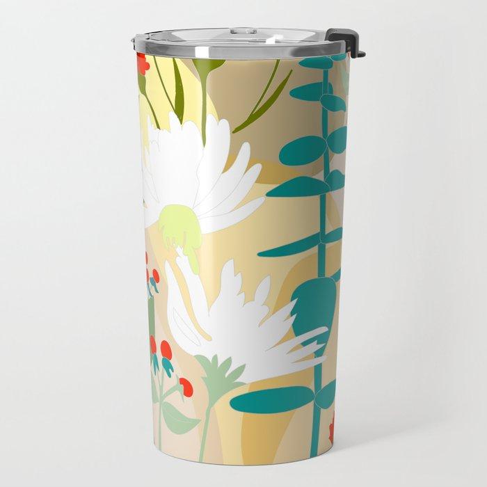 Illustration, modern flowers, bold colors,red, turquoise, white,green. Travel Mug