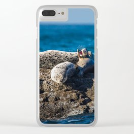 A Harbor Seal Waves Hello Clear iPhone Case