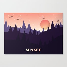 Sunset Landscape Illustration (Purple) Canvas Print