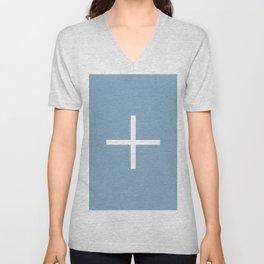 white cross on placid blue background Unisex V-Neck