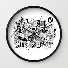 Smiley Fingers illustration 01 Wall Clock