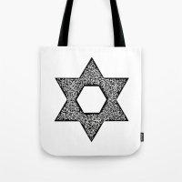 jewish Tote Bags featuring Star of David (Jewish star) by ZannArt Originals