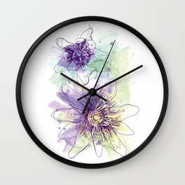 Purple Passion Flowers Watercolour Pen Illustration Drawing Wall Clock