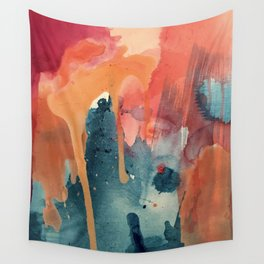Pour Some Sugar on Me: a colorful mixed media abstract in pinks blues orange and purple Wall Tapestry