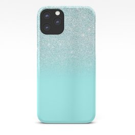Elegant Chic Mint Blue Gradient Glitter iPhone Case