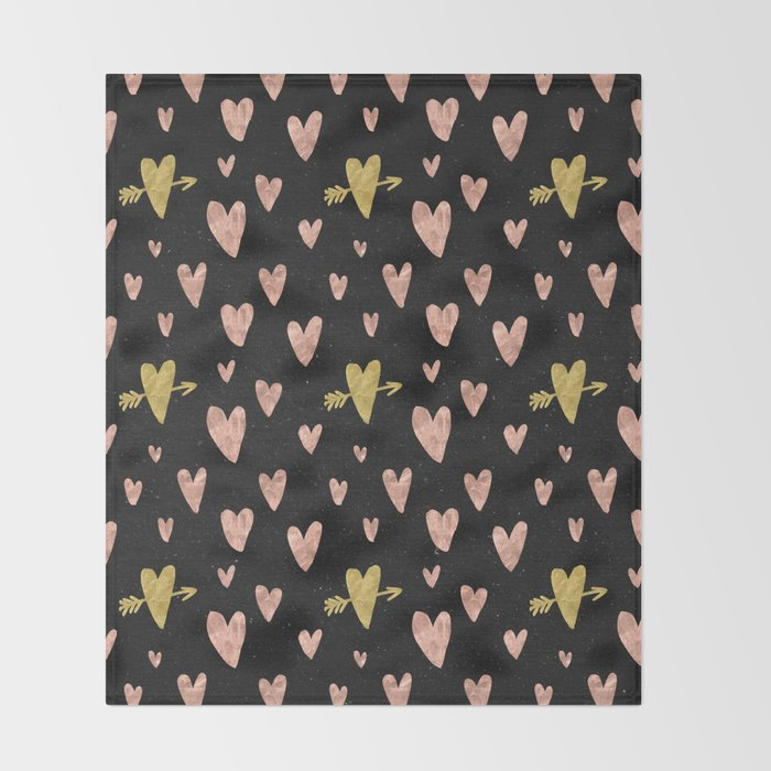 Rose Gold Hearts With Yellow Gold Hearts On Black Throw Blanket By