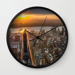 MANHATTAN - sunset Wall Clock