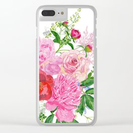 Bouquet of pink peonies Clear iPhone Case