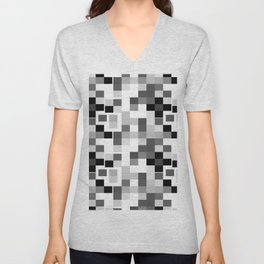 Grayscale Squares Unisex V-Neck