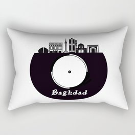 Baghdad Skyline on Vinyl Record - Black and White Rectangular Pillow