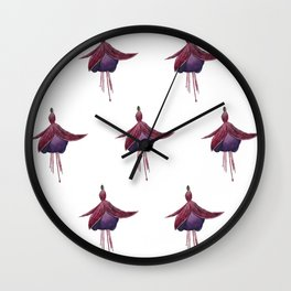 Fuchsia Pattern Wall Clock